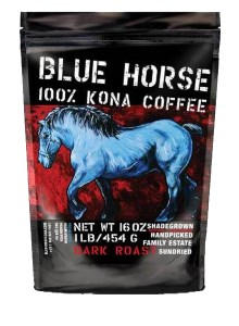 Blue Horse 100% Kona Hawaiian Dark Roast Coffee